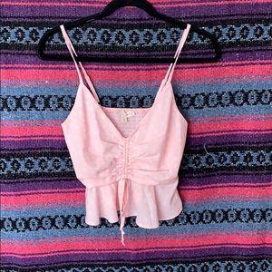 Pink low neck tank top